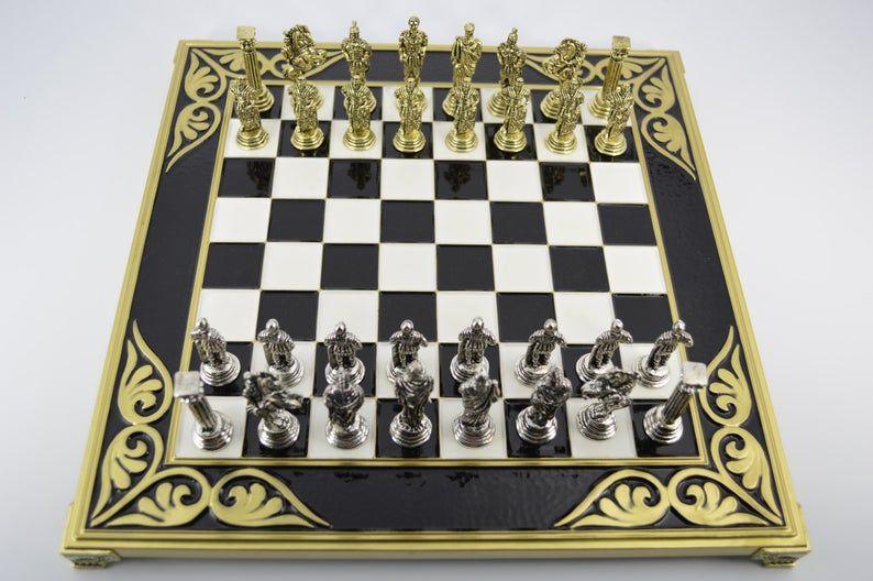 Roman Empire Chess Set Black White Board 32x32cm Etsy Chess Set Chess Board Antique Vanity Set
