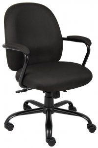 """Boss Heavy Duty Task Chair SKU: B670 Deluxe Heavy duty use Task Chair. 300lb capacity. High Density Foam. Durableblack crepe fabric. Curved ergonomic backfor excellentlumbar support. 2 paddlelocking heavy duty spring tilt mechanism with tension control. Padded arms incorporated intosteel wrap aroundstyle construction.27""""black powder coated metalbase with deluxeoversizecasters.Pneumatic seat height adjustment. Availability: 1 Color(s) Available Pricing: $199.99"""