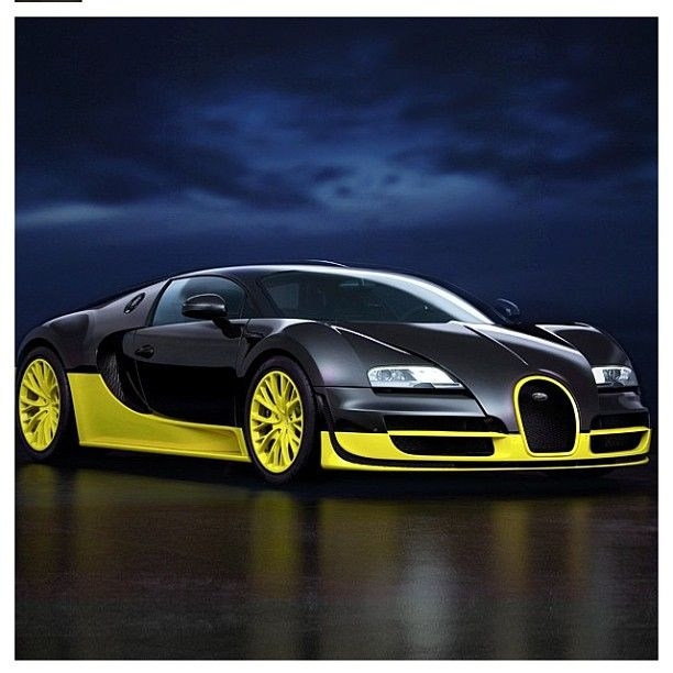 Thunderous Black And Yellow Bugatti Veyron Hot Stuff