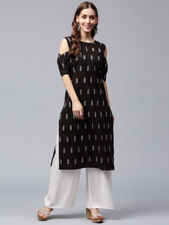 ca511db6132 Buy Nayo Women Black   White Printed Straight Kurta - Kurtas for Women  2241004