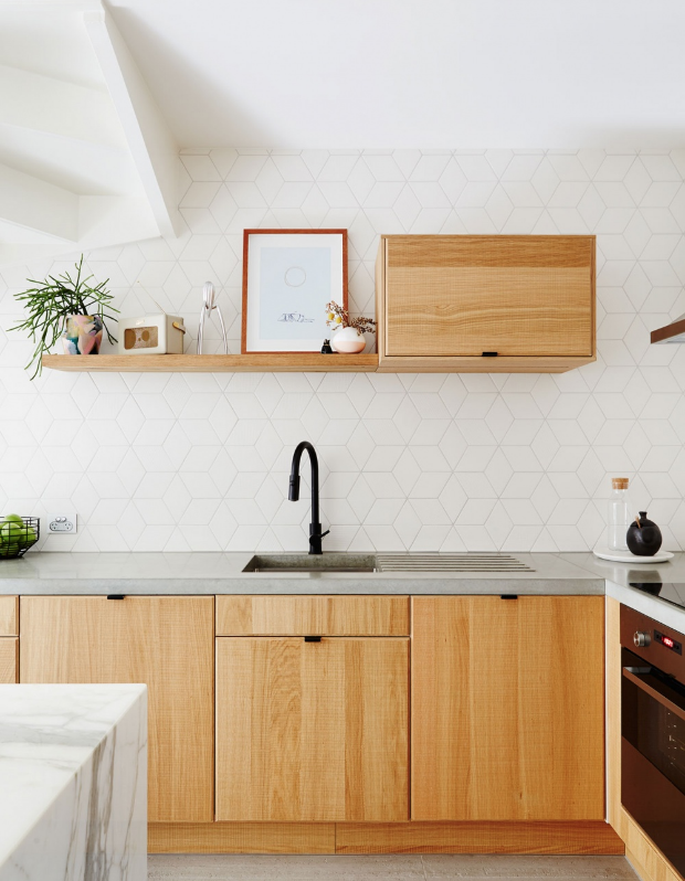 We Re Obsessed With This Texture Play Combine A Marble Island With Light Wood Cabinets It S A Concrete Countertops Kitchen Concrete Kitchen Kitchen Remodel