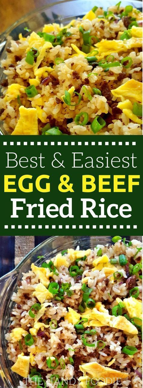 Quick, Easy Egg and Beef Fried Rice - #seasonedricerecipes