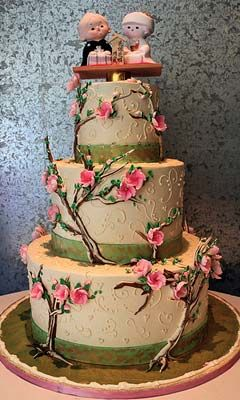 Asian Wedding Cakes From Japanese Cherry Blossom Motifs Chinese Cake With Its Pagodas And Dragons Or The Indian Intricate Henna