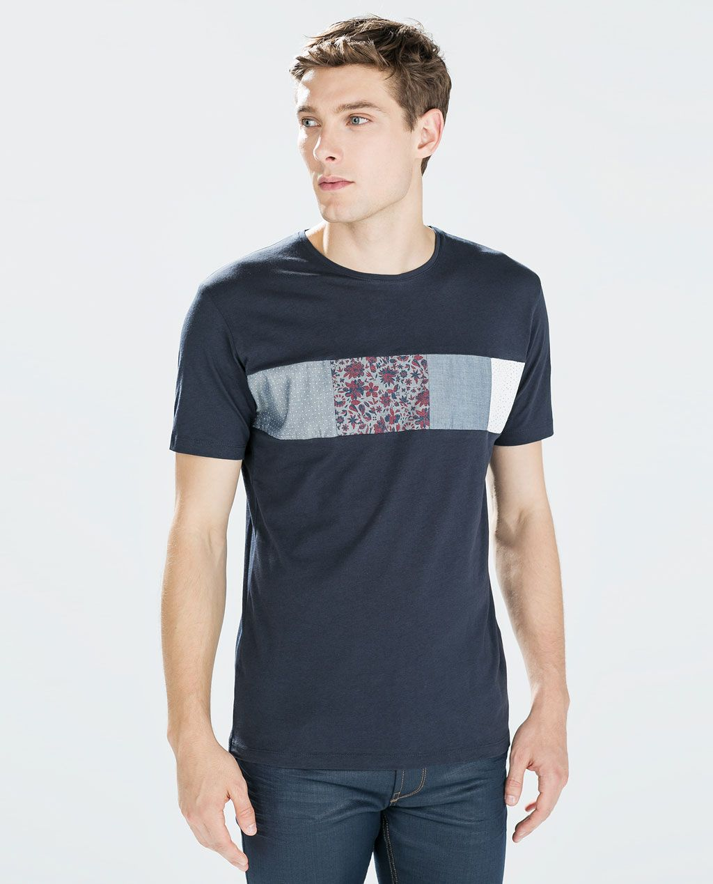 Image 1 of WOVEN PANELS T-SHIRT from Zara