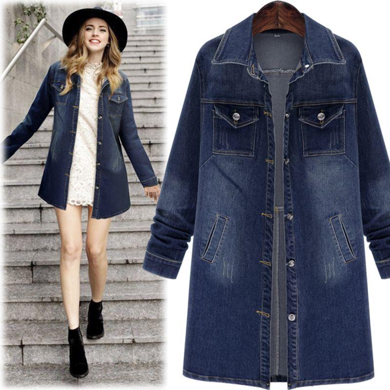 d587c6e3f9f 16 Autumn Winter Women Denim Jacket Long Sleeve Length Denim Coat ...