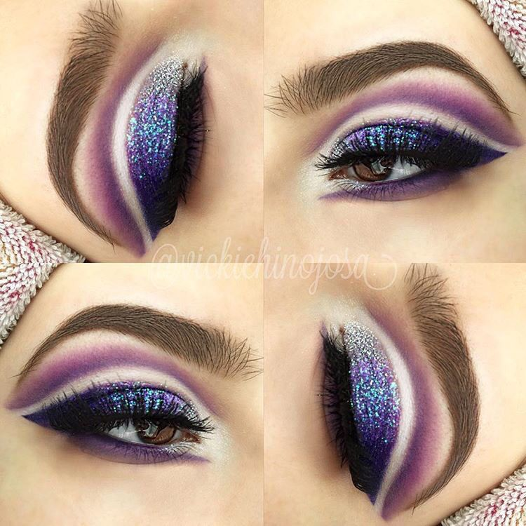 purple double cut crease