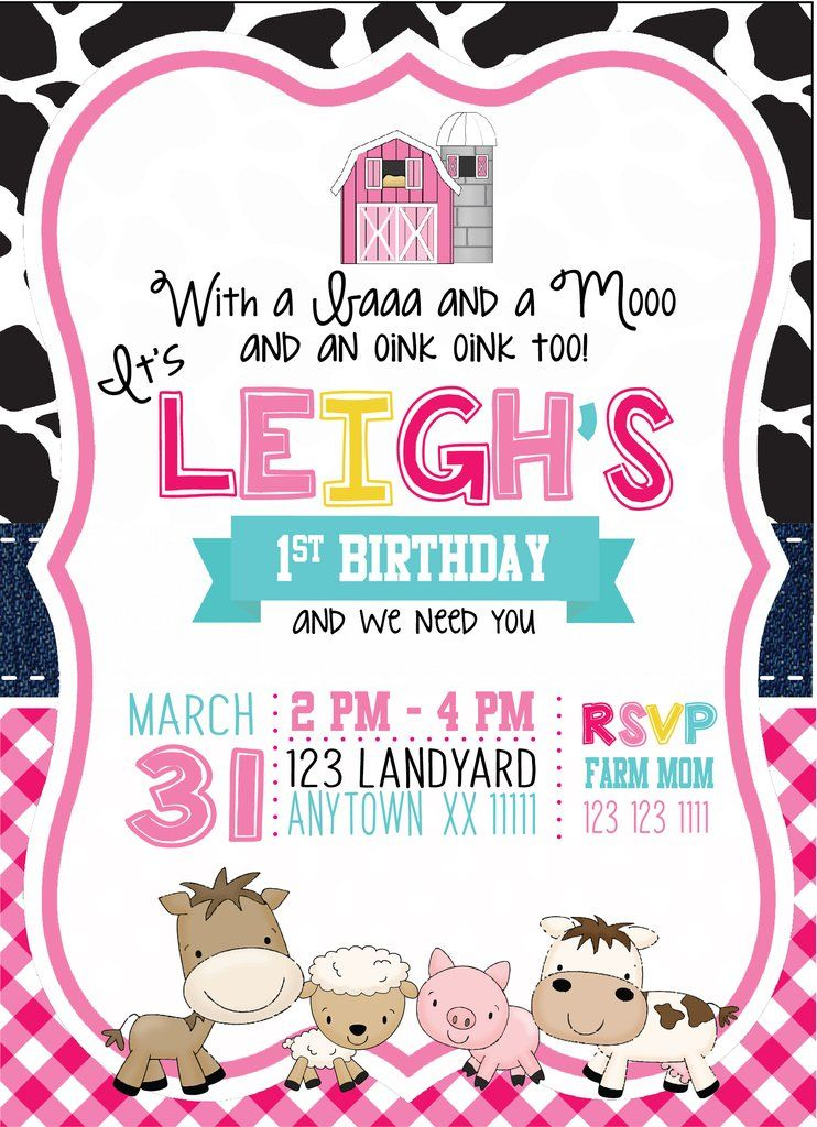 Pink Barnyard Birthday Invitations Birthday Parties Pinterest