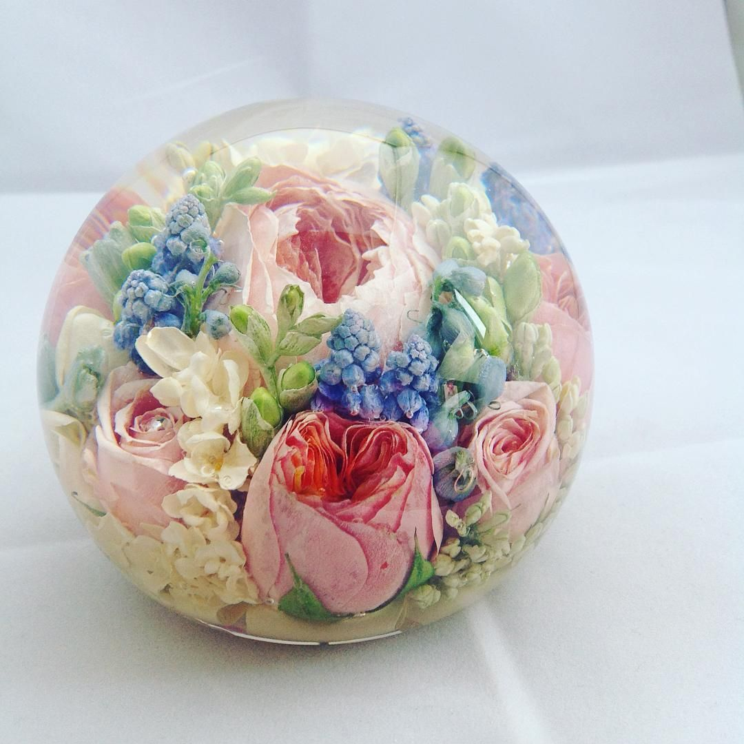 Wedding bouquet preservation with paperweights by The