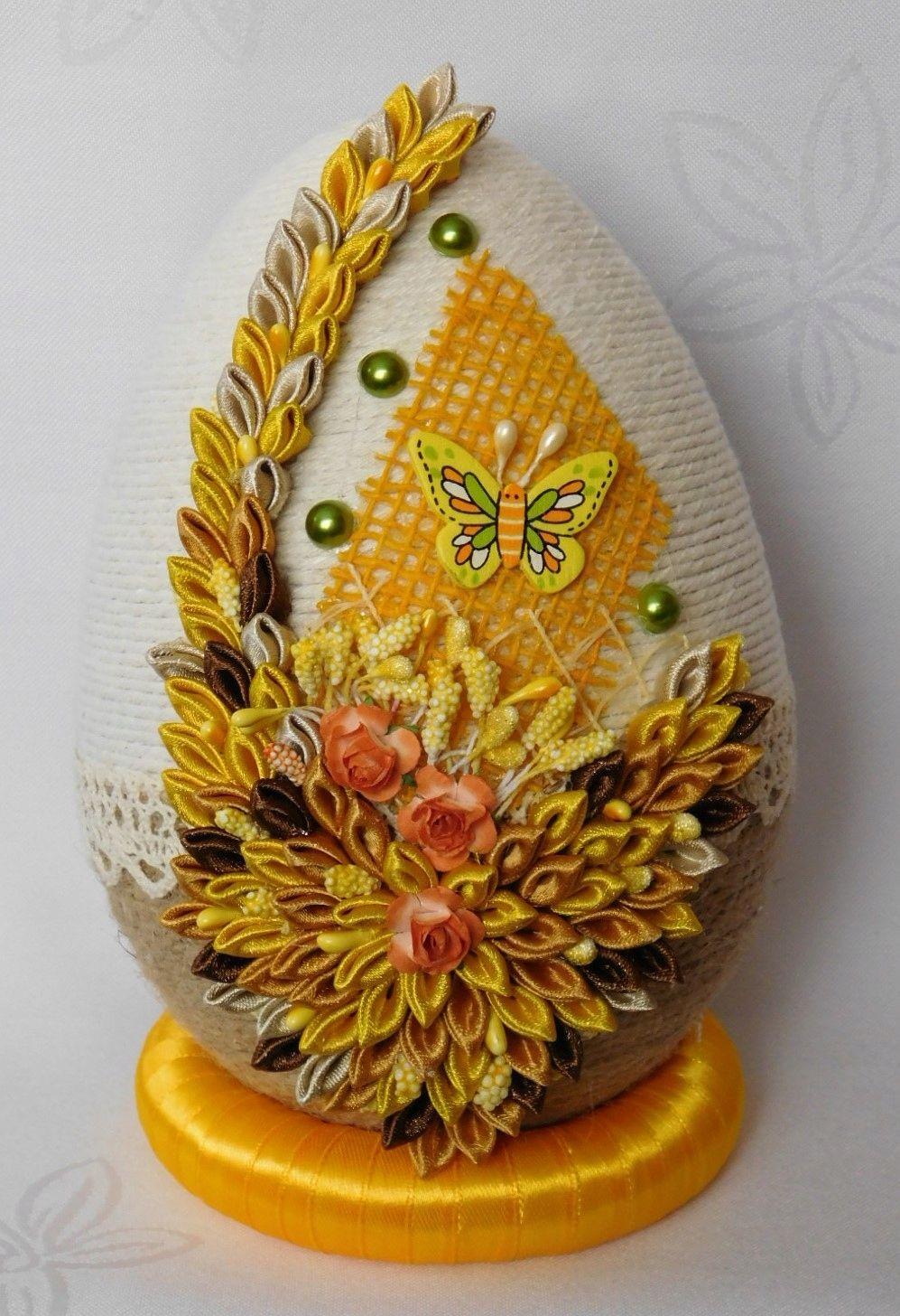 Duze Jajko Pisanka Ozdoby Wielkanocne Rekodzielo 7784856406 Oficjalne Archiwum Allegro Easy Crafts For Teens Silk Ribbon Embroidery Easter Egg Decorating