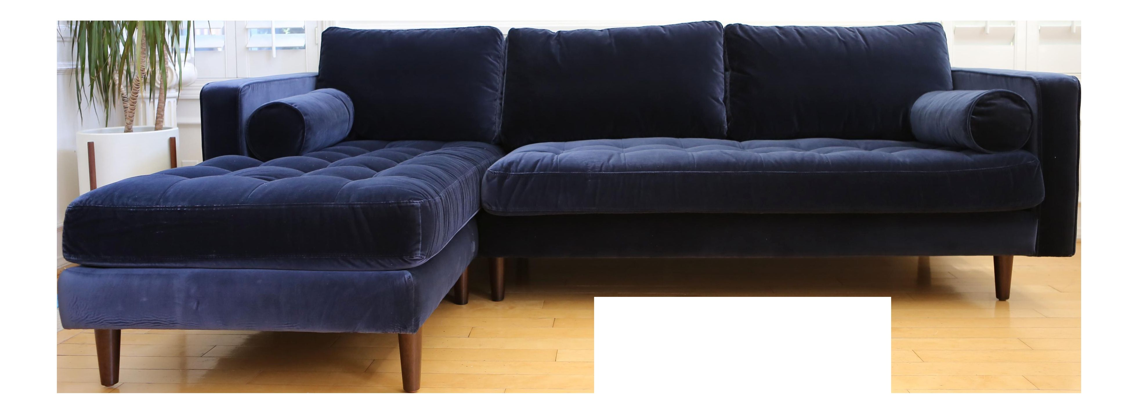 Mid Century Modern Navy Blue Velvet Sectional Sofa