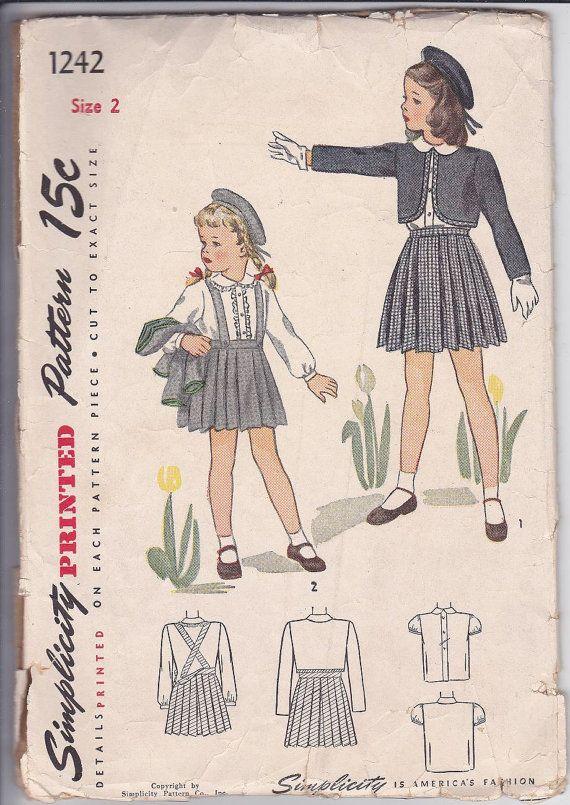 40s Girl Bolero Peter Pan Collar Blouse Suspender Pleat Skirt School ...
