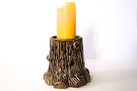 Tree Stump Ceramic Wood Candle Holder Large Candle by omNoms, $15.00