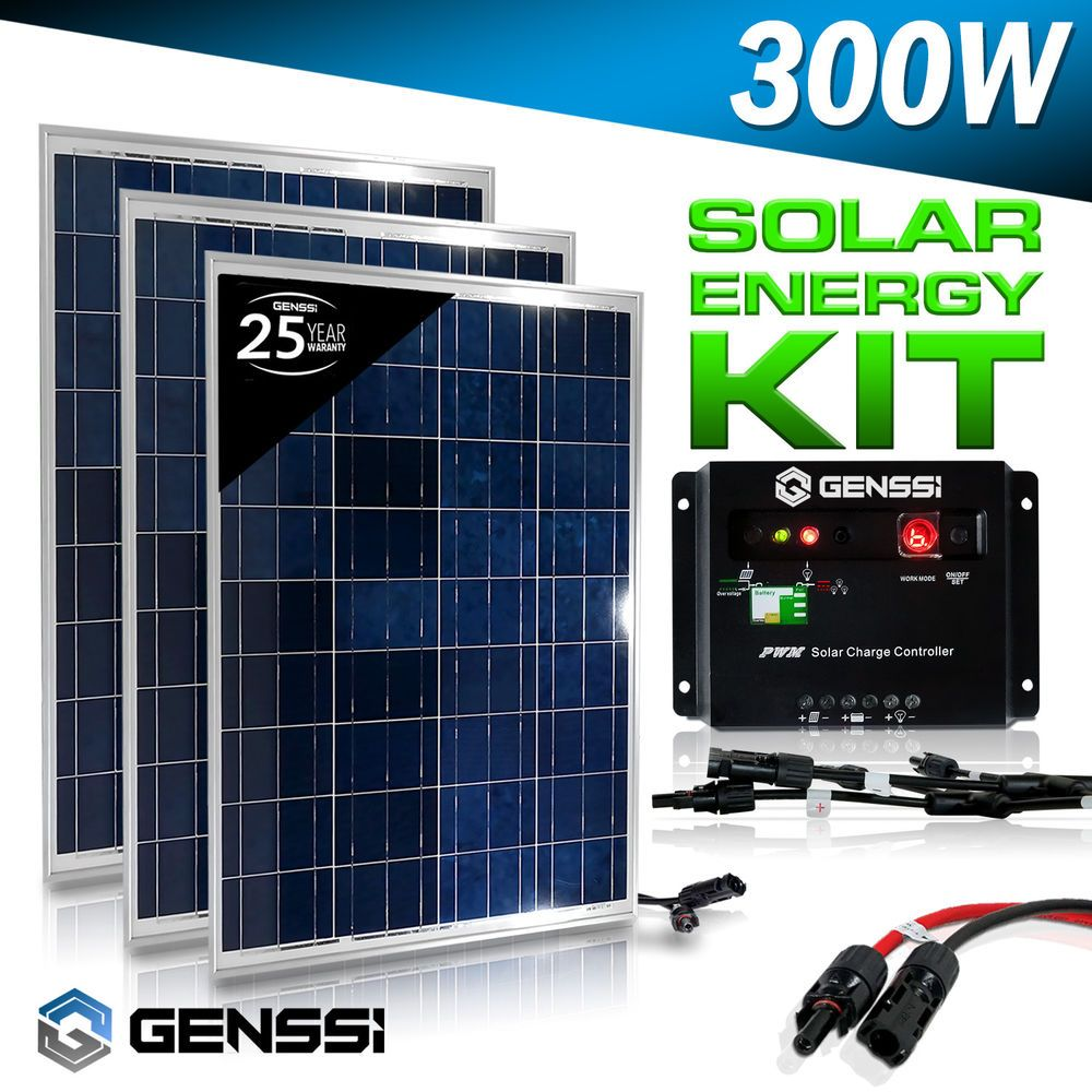 Genssi 300w Watt Solar Panel Kit 3 Pcs 100w 12v Rv Boat With Charge Controller Solar Energy Panels Solar Panel Kits Advantages Of Solar Energy