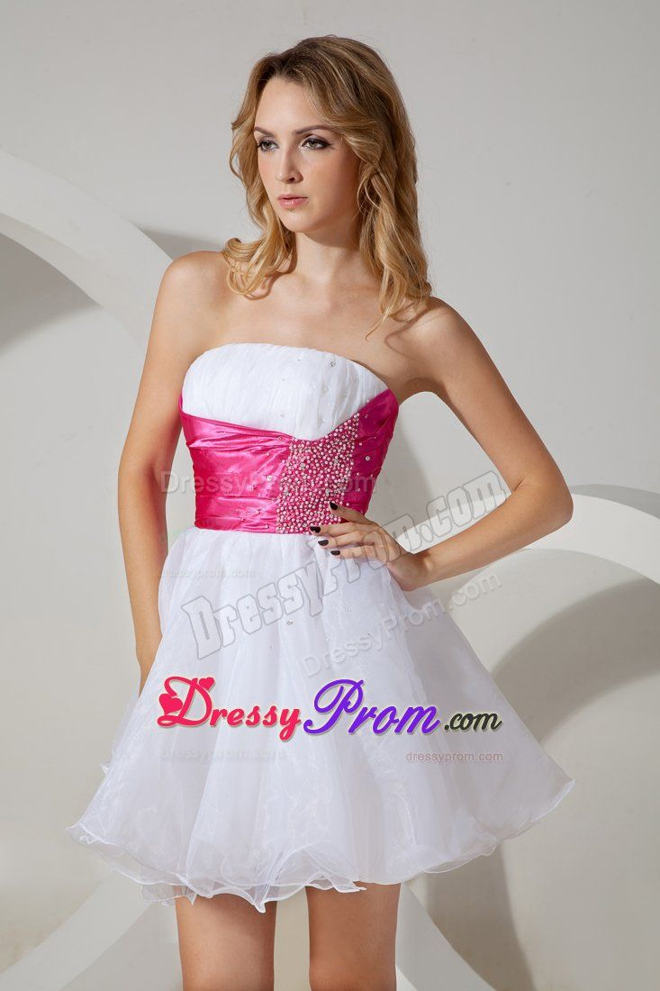 Pink beading wide sash for white cocktail dress to minilength
