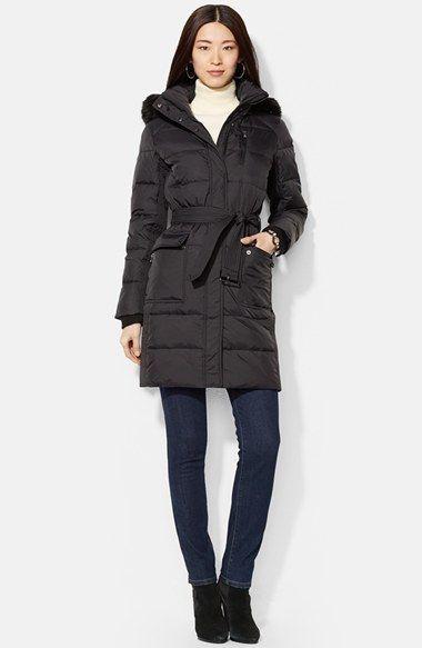 Lauren Ralph Lauren Faux Fur Trim Quilted Coat with ...