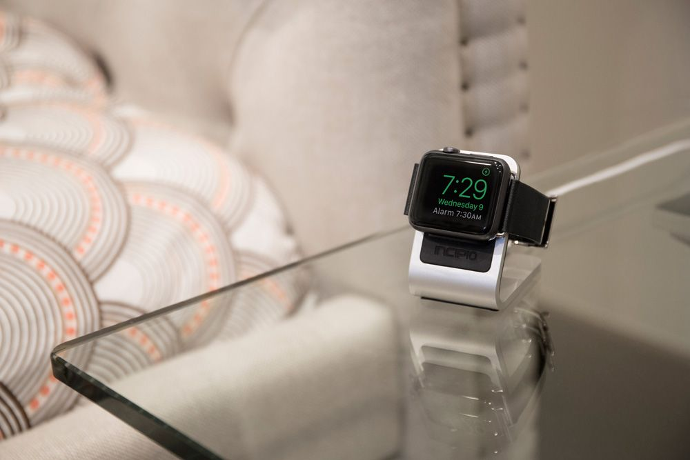 The Apple Watch Dock allows for Nightstand mode, which allows your Watch face to be viewed on its side for charging. When resting like this, the Digital Crown and side button can be used to snooze and end an alarm in the morning. Shop Here: http://ncpo.cc/44vc