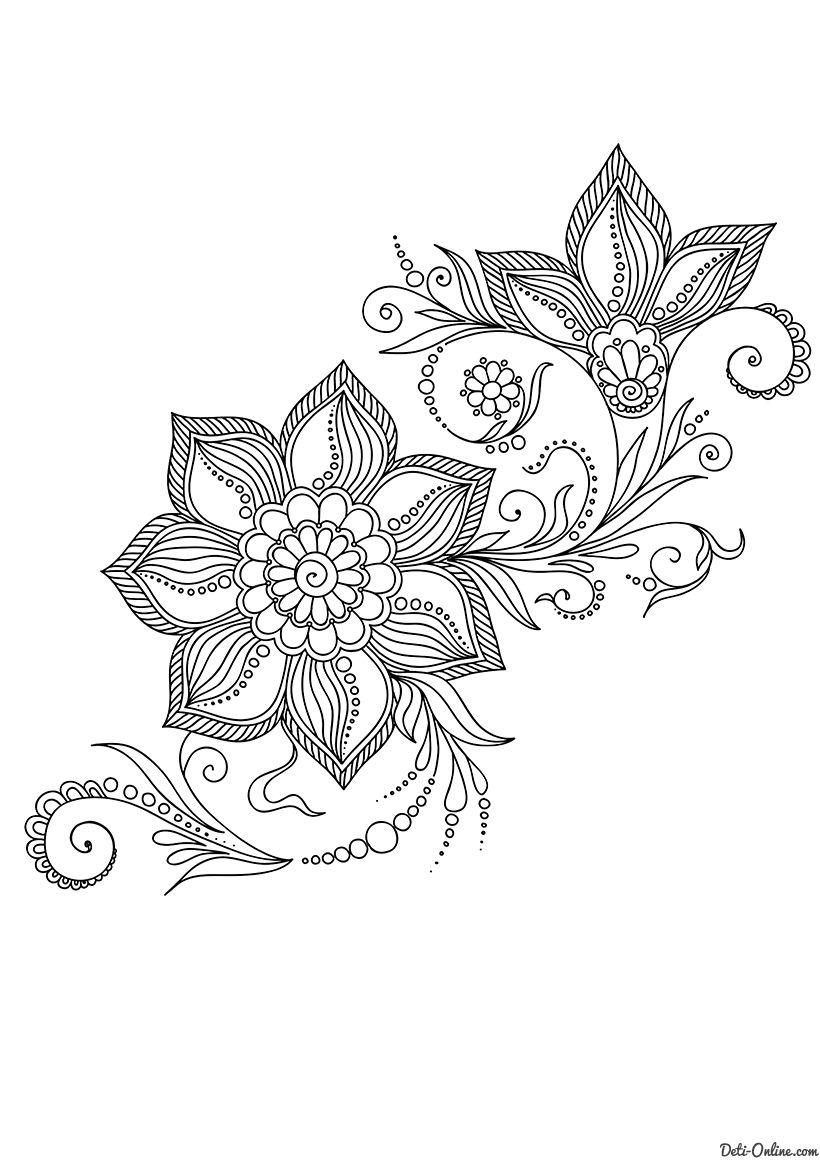 Раскраска Арт-терапия Индийские цветы распечатать или ...