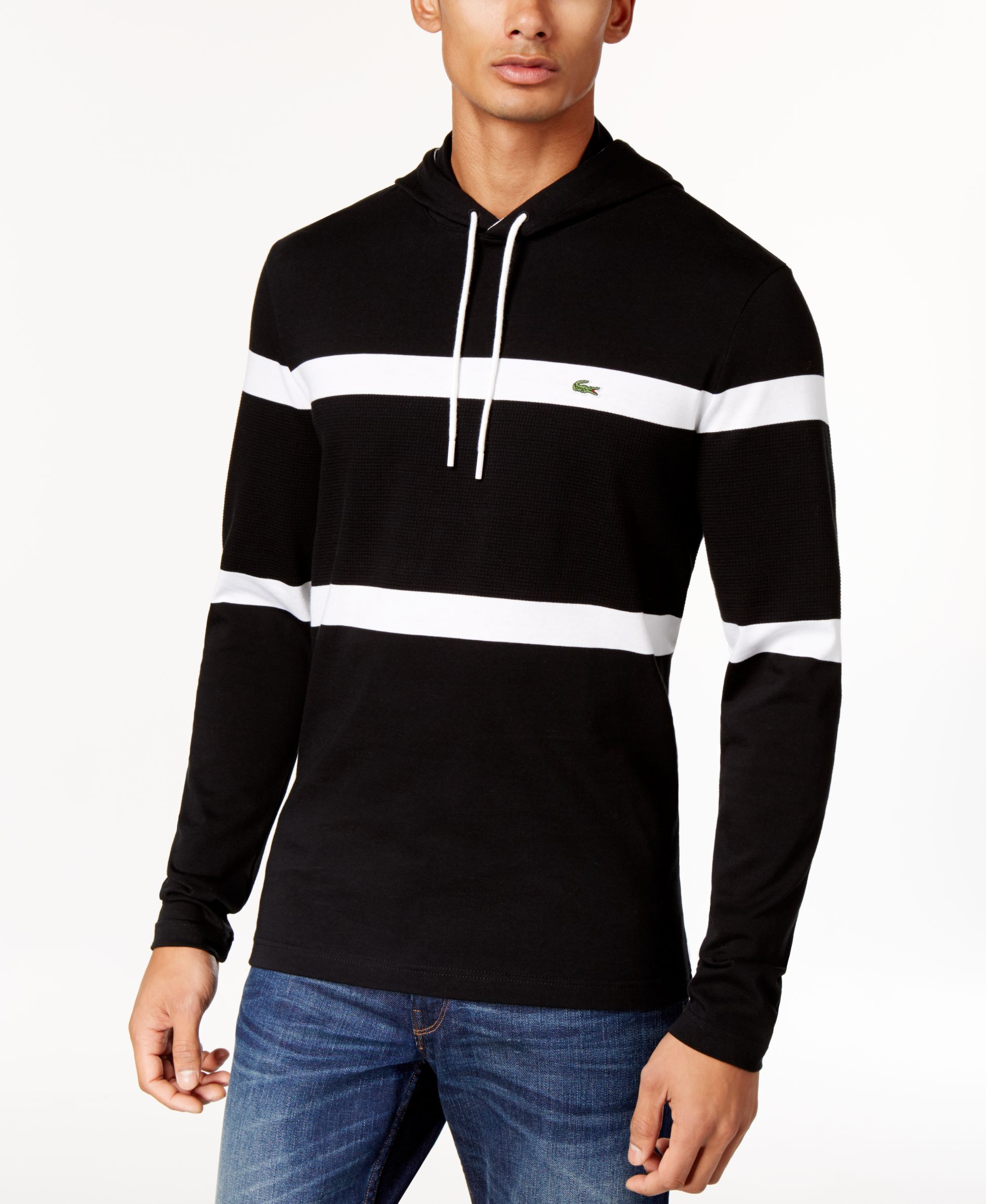c1591568f Lacoste Men s Striped Waffle-Knit Hoodie
