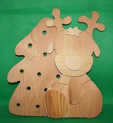 Dekoration Basteln Holz - Elch Mit Tannenbaum Für 10Erlk 28 Cm H