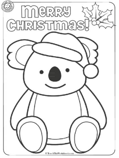 Koala Christmas Colouring from teachthisworksheet.com