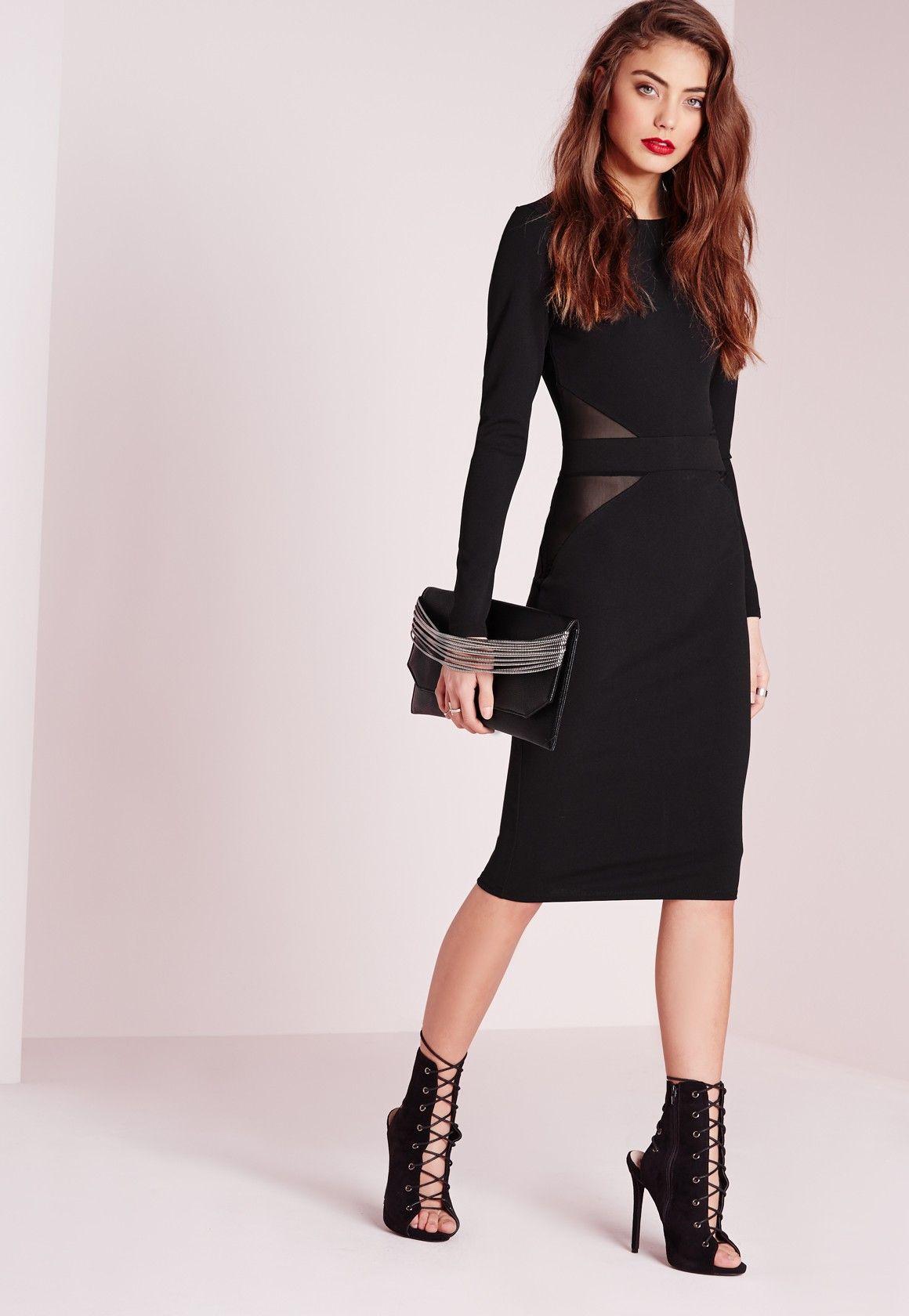 Mesh back long sleeve midi dress black missguided midi dresses