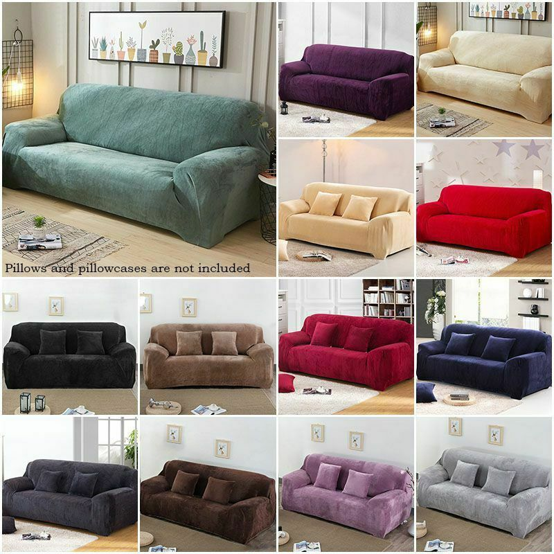 Luxury Velvet Sofa Cover Stretchy Couch Thick Plush Slipcover