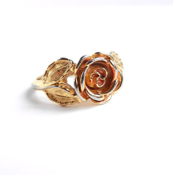 Vintage Rose Ring - Gold Tone Signed Flower Jewelry by MaejeanVINTAGE, $15.00    #rose #ring