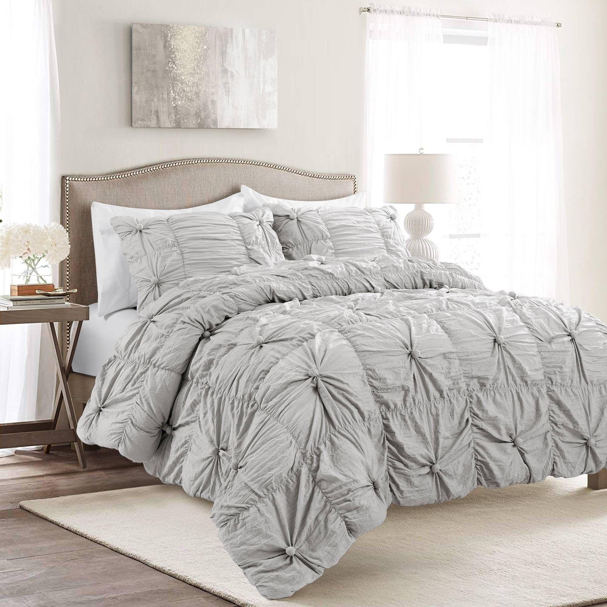 Full/Queen 3pc Bella Comforter & Sham Set Light Gray