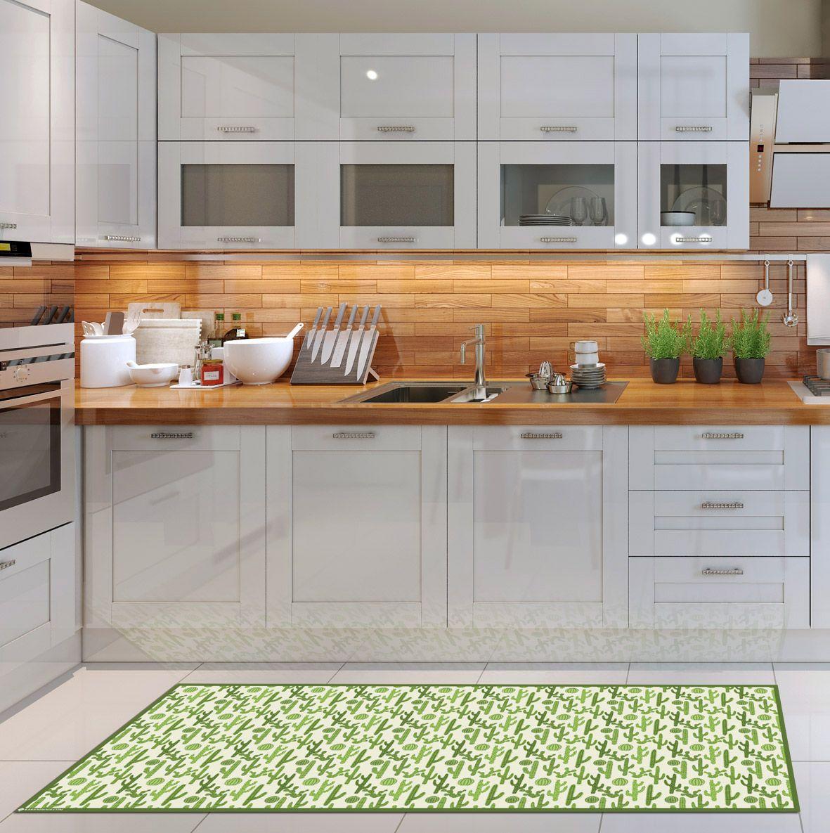 Floor Mat Rug Carpet Linoleum P V C Vinyl Green Runner Hall Kitchen Area Doormat Hallway Cactus