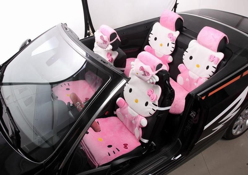 12 Piece Pink Hello Kitty Fluffy Winter Car Seat Covers
