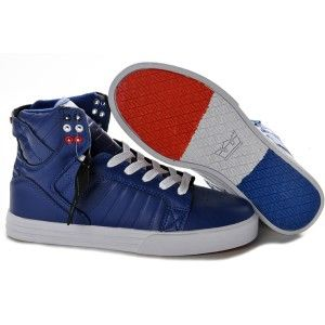 7ea7a4d2b981 Supra Skytop Blue Black Crackle Suede High Tops for Men