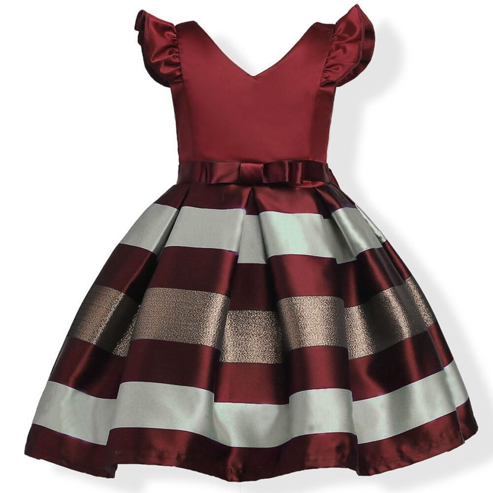 new girls bow striped formal gown ball party princess dress