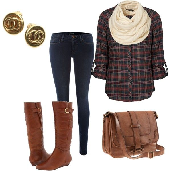 Plaid Shirt, Dark Jeans, Cream Scarf, with a Brown Purse, Boots, and Gold Studs