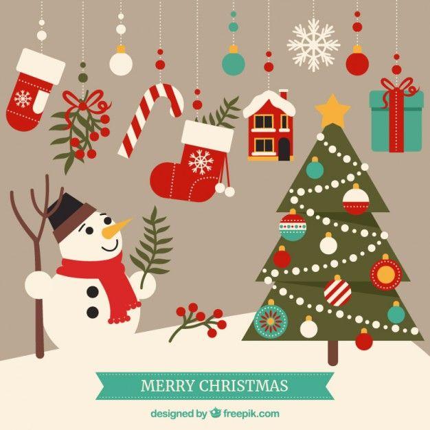 Éléments De Joyeux Noël Mignon. Merry Christmas VectorChristmas GraphicsChristmas  CardsChristmas ...
