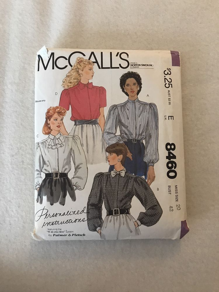 McCalls Misses' Blouses Pattern 8460 Size 20  | eBay