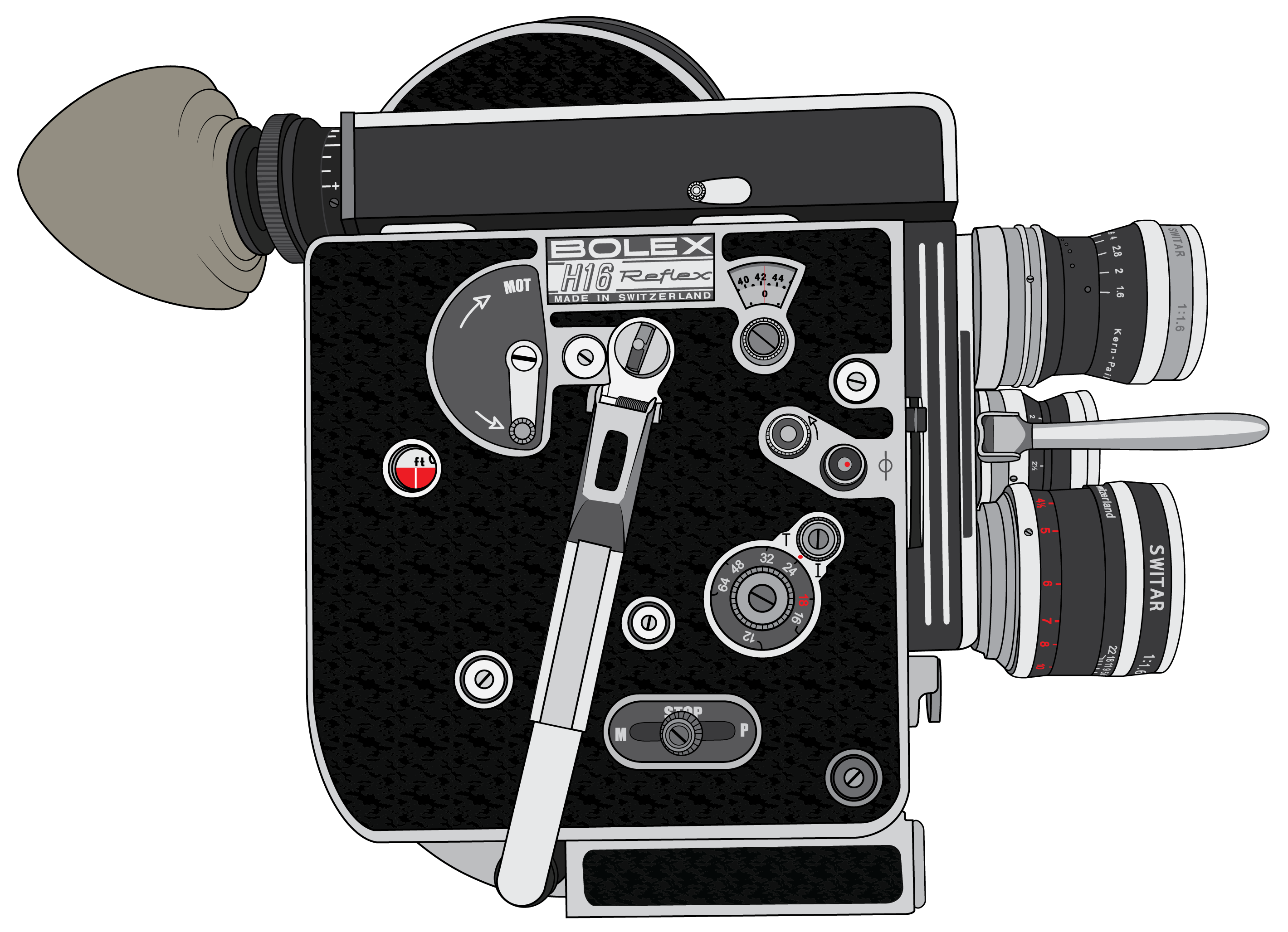 Camera Vintage Vector Png : Bolex 16mm film camera vector architecture style & design