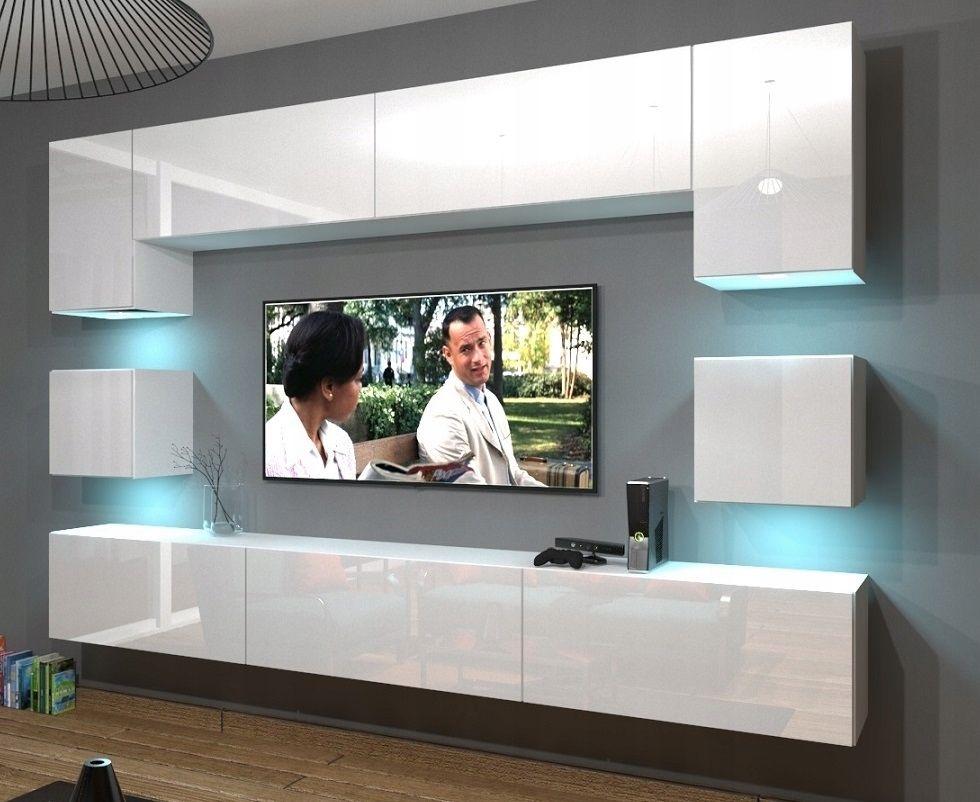 Zestaw Salon Mebloscianka Nowara N1 Polysk Meble Living Room Wall Designs Living Room Tv Wall Living Room Tv