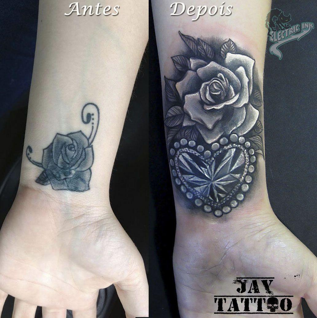cover up cobertura de tatuagem rosas e diamante cora o roses tattoo tattoos pinterest. Black Bedroom Furniture Sets. Home Design Ideas
