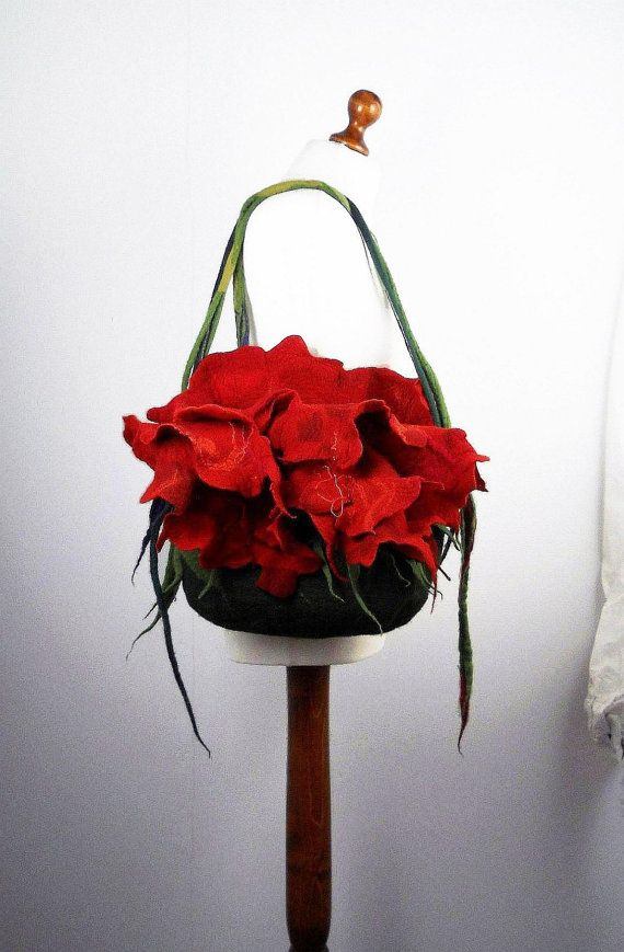 Felted Bag Flower Bag Nunofelt Bag Wearable art flower Handbag Purse wild Felt Nunofelt Nuno felt Silk red fairy floral fantasy shoulder bag Fiber Art