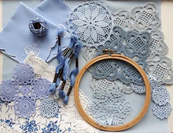 Blue variation set for your project by DoiliesLaceCrafts on Etsy