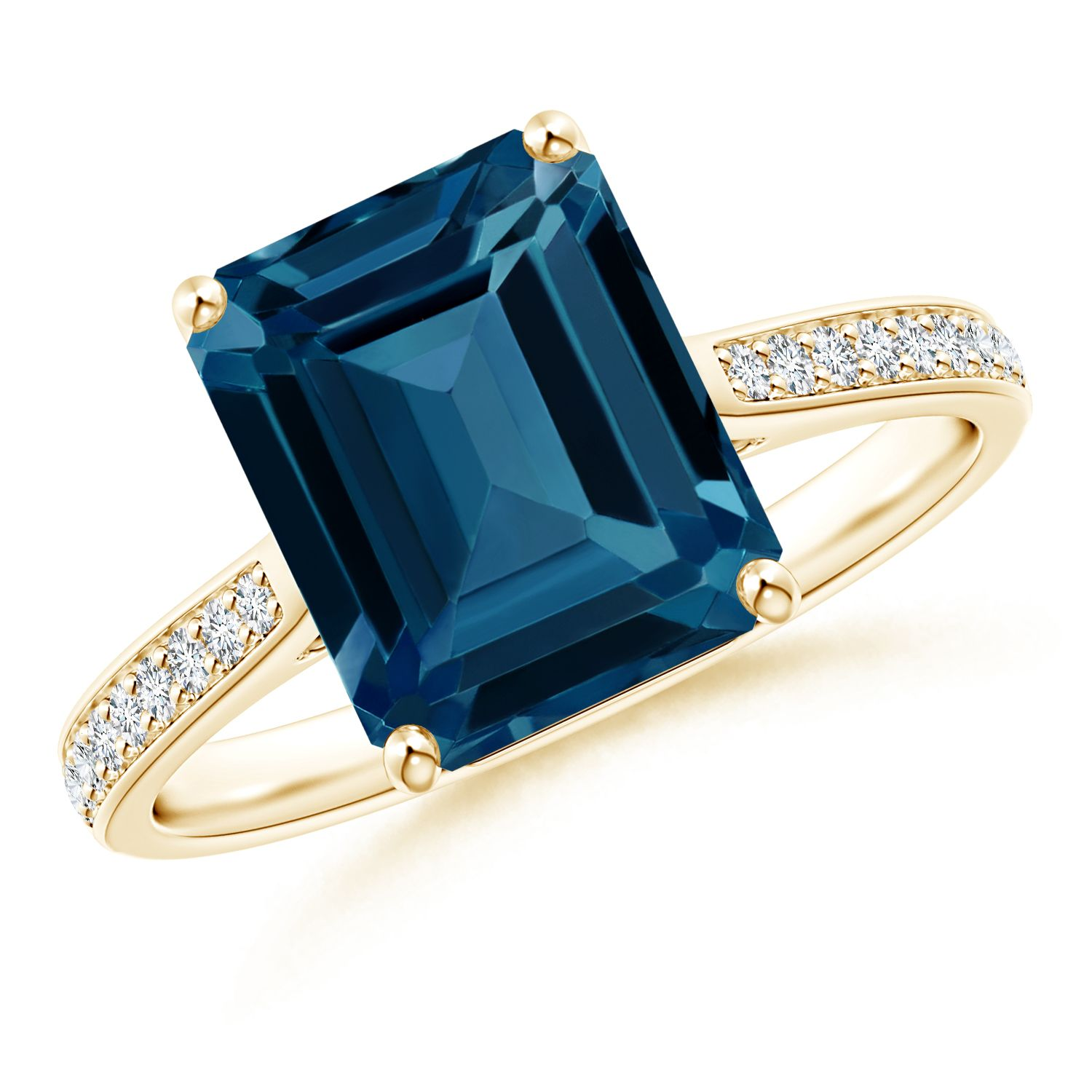 Angara Emerald-Cut London Blue Topaz Ring with Trio Diamonds cANgeb