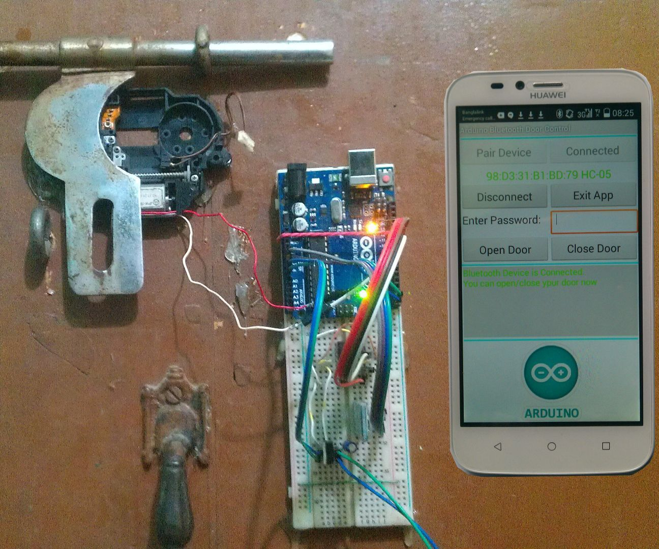 Arduino android based bluetooth controll password
