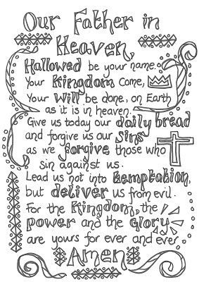 Prayers To Colour In Prayer Crafts
