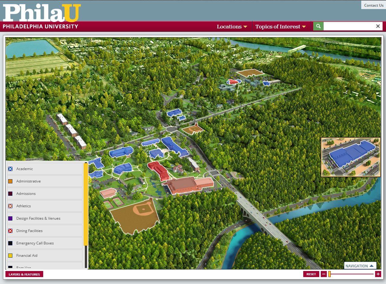 Philadelphia University Campus Map With Active Layers - Us map philadelphia