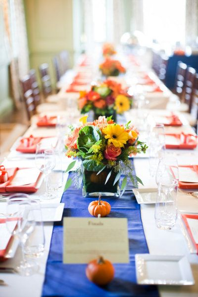 Fall + Blue Accent Table Setting & Fall + Blue Accent Table Setting | Terrific Table Settings ...