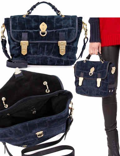 Mulberry Tillie Croc Print Suede in Midnight Navy This version of the Mulberry  Tillie Bag has an all over croc and reptile print to the navy coloured suede . 9c4e6efbb915c