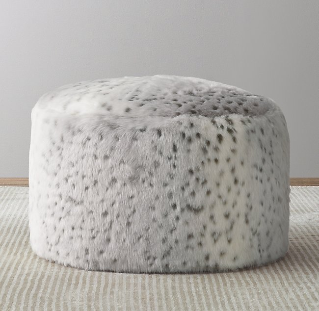 Peachy Luxe Faux Fur Round Pouf Grey Snow Leopard In 2019 Pdpeps Interior Chair Design Pdpepsorg