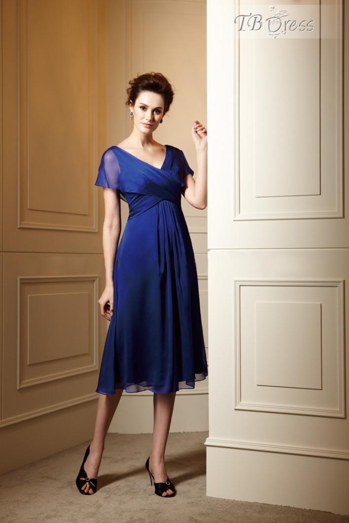 ae53fe7c8c Fantastic Rcuhed A-Line V-Neck Tea-length Mother of the Bride Dress ...