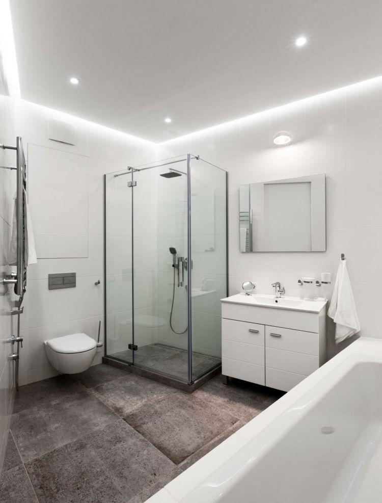 farbe-gruen-monochrom-weiss-moebel-einbauleuchten Badezimmer - farbe für badezimmer