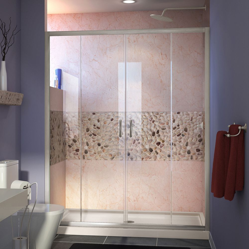 Visions 32 Inch D X 60 Inch W Shower Door In Brushed Nickel With Center Drain Biscuit Shower Base Shower Doors Shower Base Frameless Sliding Shower Doors